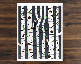 Birch Forest With Woodpeckers Art Print