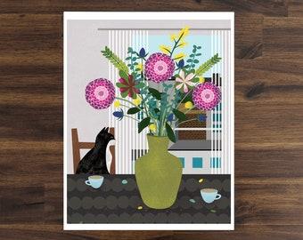 Cat Bouquet Art Print