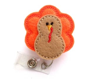 Thanksgiving Badge reel - retractable - Gobble Gobble Turkey - tan orange felt turkey - medical staff nurse teacher badge reel