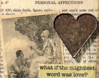 """The Mightiest Word - Small But Mighty Mixed Media Series - 3 1/2"""" x 6"""" x 3/4"""""""