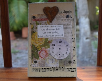 TIME FLIES - Mixed Media w/ Heart - Small But Mighty Series 4 x 6