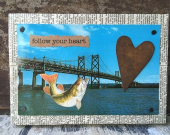 Follow Your Heart - Mixed Media - Vintage Postcard Series - 4 x 6