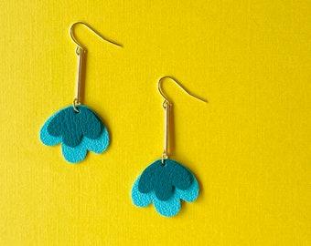Scalloped Tiered Poppy Earrings in Teal  - Reclaimed Leather Statement Earrings on Long Brass Extenders