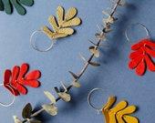 Oak Leaf Hoop Earrings - 7 Colour Options - Reclaimed Leather Statement Earrings, Botanical Earrings, Ethical Jewelry, Leaf Earrings