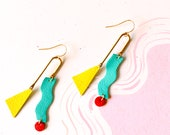 Asymmetrical Mobile Earrings - Colourful Statement Leather earrings with Geometric Shapes