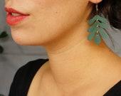 Botanical Leaf Hoop Earrings in Moss - Mustard Yellow Oak Leaf Leather Statement Earrings on 14K Gold-Plated Hoops