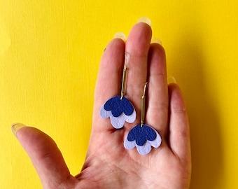 Scalloped Tiered Poppy Earrings in Ultra Violet  - Reclaimed Leather Statement Earrings on Long Brass Extenders