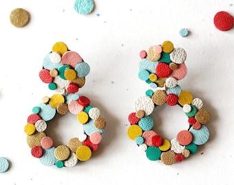 Rainbow Confetti Circle Earrings - Clip on / Pierced Ear Options - Colourful Reclaimed Leather Statement Earrings