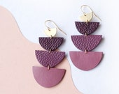 Ombre Tiered Semi Circle Leather Statement earrings in Mauve Purple - made from Repurposed Leather