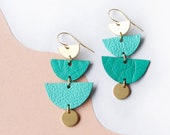 HIGHTIDE - Two-tone Tiered Halfmoon Leather Earrings in Teal with Brass Charms - Reclaimed Leather Earrings