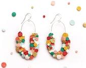 Rainbow Confetti Leather Statement Scoop Earrings, Upcycled Leather Earrings, Colourful Statement Earrings