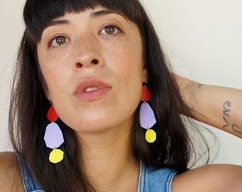 Stepping Stones Statement Earrings in Red / Purple / Yellow - Geometric Earrings made from Upcycled Leather w/ Gold-Plated Hooks
