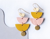 SUNSET-  Mustard + Pink tiered reclaimed leather earrings - Halfmoons and Brass Circles