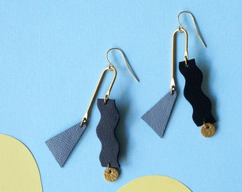 Squiggle Mobile Earrings in Black, Gold + Grey - Colourful Asymmetrical Statement Leather earrings with Geometric Shapes