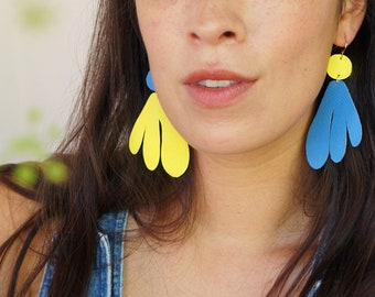 Algas Statement Earrings in Blue + Yellow - Abstract Retro Asymmetrical Statement Earrings made from Upcycled Leather w/ Gold-Plated Hooks