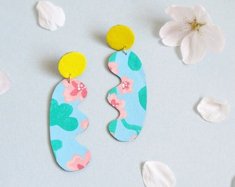 Sakura Cherry Blossom Pattern Tosaka 鶏冠 Comb Statement Earrings- Crest Shape + Big Yellow Stud Made from Reclaimed leather in Pink and Blue