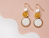 FRECKLED mustard + White earrings - Spotted Leather Earrings - Tiered Circles of Reclaimed Leather and Brass