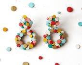 Rainbow Confetti Donut Earrings - Clip on / Pierced Ear Options - Reclaimed Leather Statement Earrings