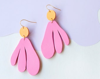 Algas Statement Earrings in Pink + Orange - Abstract Retro Asymmetrical Statement Earrings made from Upcycled Leather w/ Gold-Plated Hooks