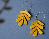 Botanical Leaf Hoop Earrings in Ochre - Mustard Yellow Oak Leaf Leather Statement Earrings on 14K Gold-Plated Hoops and Hooks