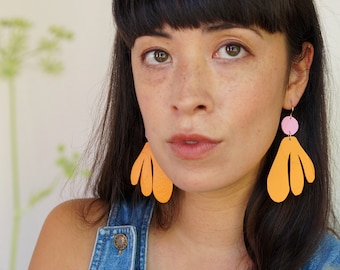 Algas Statement Earrings in Orange + Pink - Abstract Retro Asymmetrical Statement Earrings made from Upcycled Leather w/ Gold-Plated Hooks