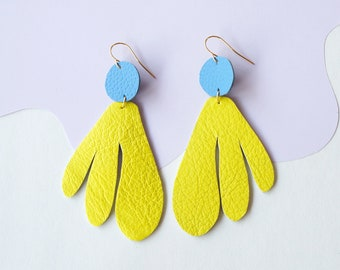 Algas Statement Earrings in Yellow + Blue - Abstract Retro Asymmetrical Statement Earrings made from Upcycled Leather w/ Gold-Plated Hooks