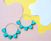 Brilliant Turquoise DAISY Petal Hoop Earrings - Reclaimed Leather Sustainable Big Hoop Earrings