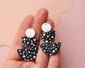 STARRY black + White earrings - Spotted Leather Earrings - Tiered Halfmoons and circles