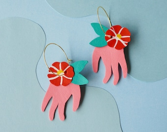 TSUBAKI 椿 CAMELIA Earrings + + Blooming Collection Statement Hoop Earrings - Pink Hands and Red Camelia Flowers w/ Reclaimed Leather