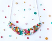 Rainbow Confetti Spotted Necklace - Colourful Necklace, Statement Necklace, Rainbow Necklace, Leather Necklace, Sustainable Necklace