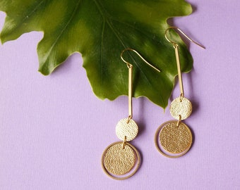 Orbit Earrings -Metallic Gold Lamé Leather Statement earrings - Layered Brass and Reclaimed Leather Circles