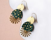 Radial Burst Spotted Statement Earrings in Emerald Green with Gold Polka Dots - Art Deco Sunburst Dangle Earrings on reclaimed leather