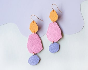 Stepping Stones Statement Earrings in Pink / Orange / Purple - Geometric Earrings made from Upcycled Leather w/ Gold-Plated Hooks
