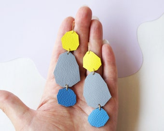 Stepping Stones Statement Earrings in Grey / Blue / Yellow - Geometric Earrings made from Upcycled Leather w/ Gold-Plated Hooks