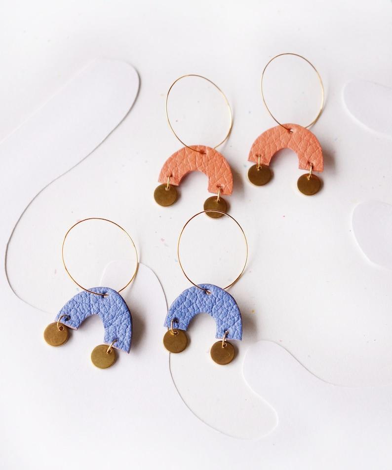 Retro Repurposed Hart Earrings  Hoop Earrings with Leather Tassels /& Beads