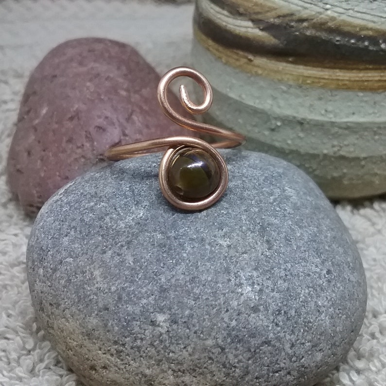 Tiger Eye Earrings Wire Wrapped Studs Copper Earrings Unisex Earrings Girlfriend Gift Boyfriend Gift Bridesmaid Gift Best Friend Gift