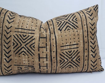 African print mudcloth inspired lumbar throw pillow 20 x 12, indoor outdoor polyester, beige and black