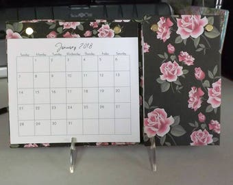 2018 - 2019 Rose Print Desk Calendar Hub with Notes and Weekly To Do Sections,  2 Year, Refillable, Adjustable Easel Stand