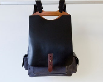 Laptop backpack, leather and canvas rucksack, back to school bag  - Tucker