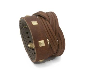 Beige and Black Leather Cuff Bracelet the Suoni Light Brown Cuff