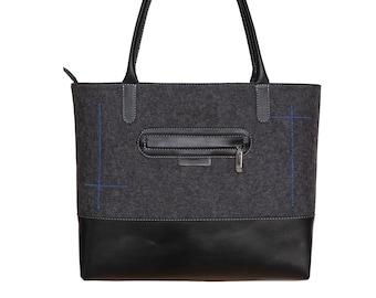 Dark grey felt bag, charcoal felt tote bag, large grey shoulder bag - the LANA tote