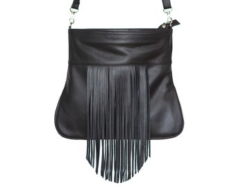 Black leather fringe purse, black boho purse - the Soleil bag