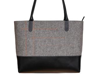 Light grey felt bag, felt tote bag, large grey shoulder bag - the LANA tote