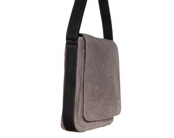 Gray Leather Messenger Bag, Grey Crossbody Bag - the Austin