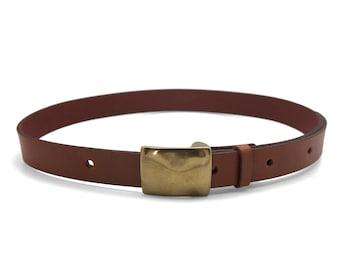 Tan brown leather belt, men's brown belt, handmade belt, classic buckle - the Taylor