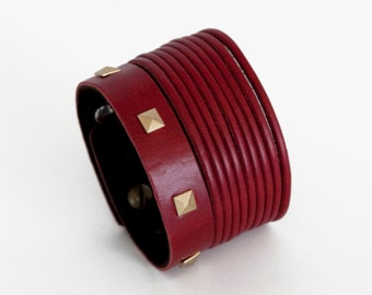 Red studded leather cuff, red cuff bracelet  - silver or gold Orchidea