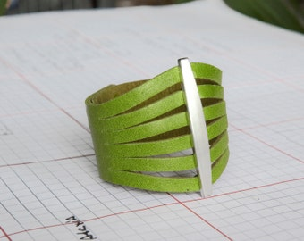 Lime Green Women's Leather Cuff Bracelet  - the Flare