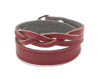 Oxblood Red braided leather wrap bracelet  - Red braided TWIST