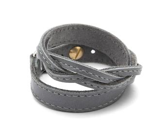Gray braided leather wrap bracelet  - Grey braided TWIST