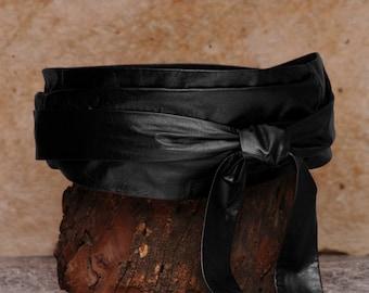Wide black belt, leather wrap belt  - Sash-a